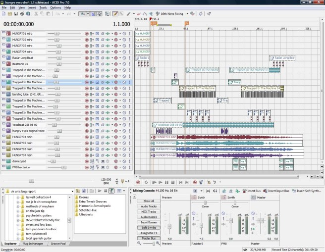 Hungry Eyes, draft 1.3 ACID Pro screen shot.