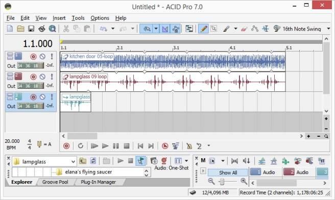 Screen shot from ACID Pro showing loops of different beats and a one shot on the track grid.