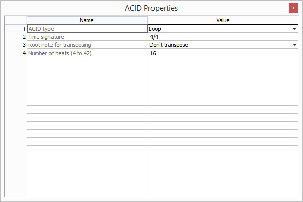 Edit acid properties such as tempo and key in Sound Forge's metadata view.