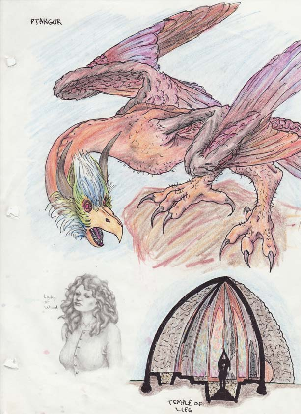 Illustrations for a planned fantasy story circa 1976. Graphite, colored pencil, India ink.
