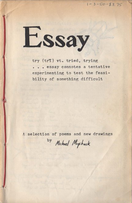 Essay chapbook. First produced April 1984. Original cover