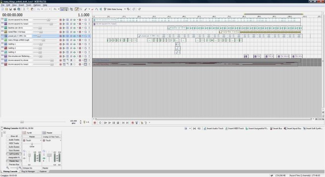 Many Things Unfold, draft 1, ACID Pro screen shot.