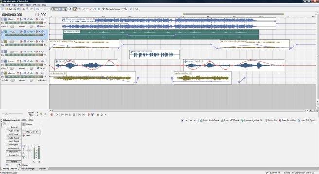 The Wish, draft 1. ACID Pro screen shot.