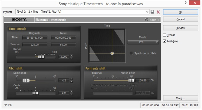 Sony Élastique Timestretch set to cut both time and pitch to half speed (or to double it, depending on how you look at it).