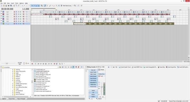 November, draft 1, ACID Pro screen shot.