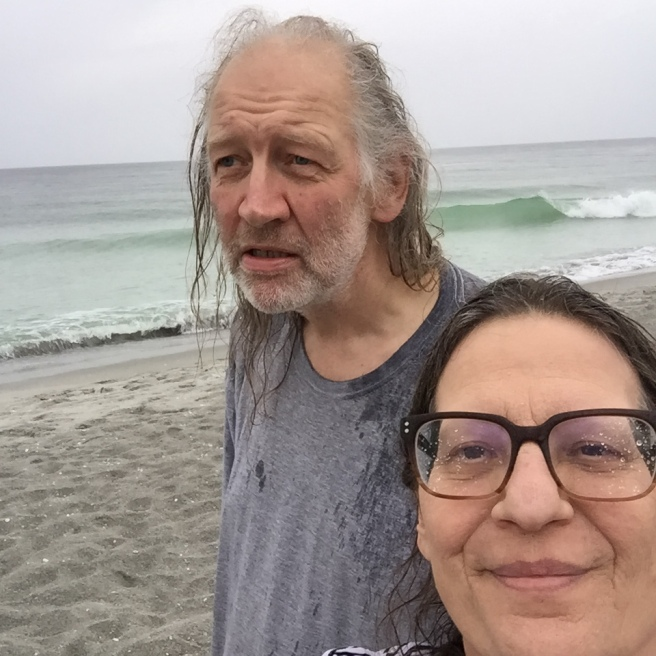 Karen and I on Sanibel Island, early December 2015. I hate hanging out on the beach, so the rain made little difference (except that I only had one pair of shoes).