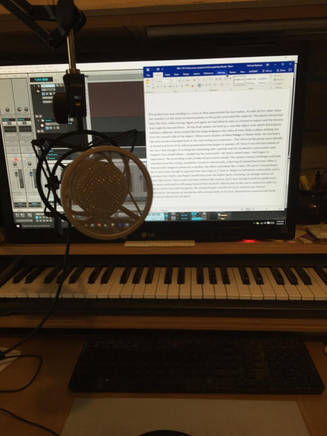 Using the computer as a teleprompter. The text is large and easy to read while the new mic setup provides minimal obstruction to my line of sight. The recording program behind Word is Sonar.